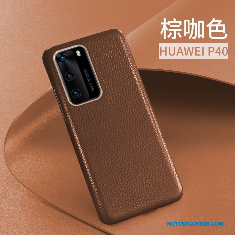Etui Til Huawei P40 Læder Top Cover Beskyttelse Business High End Anti-fald