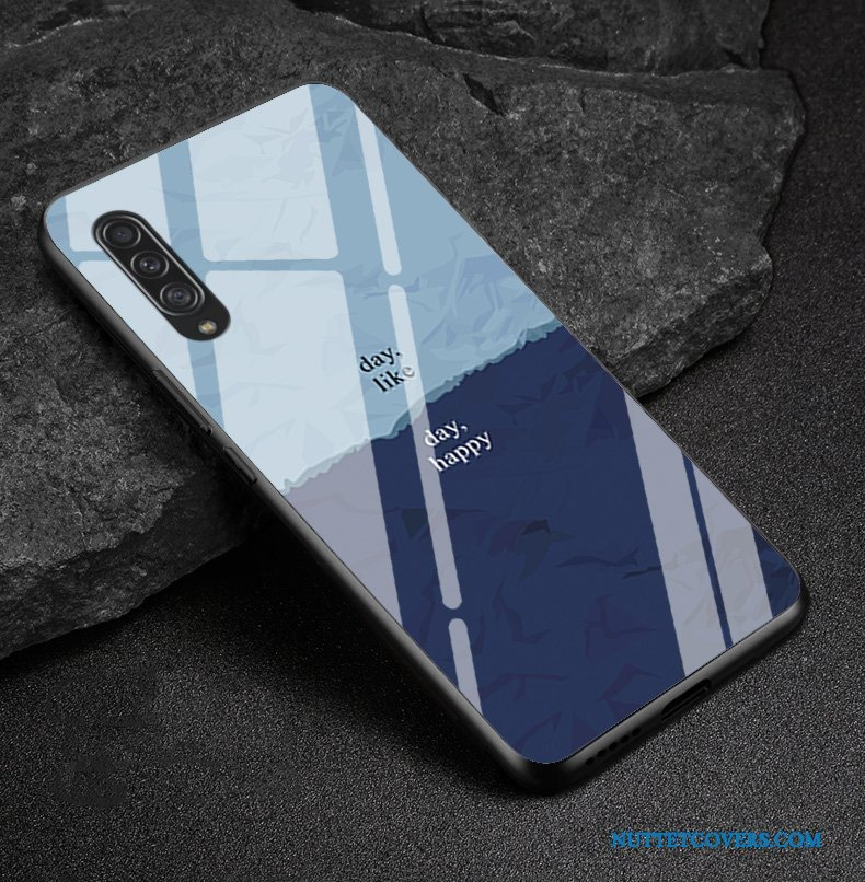 Etui Til Samsung Galaxy A90 5g Silikone Rombe Cover Nubuck Glas And