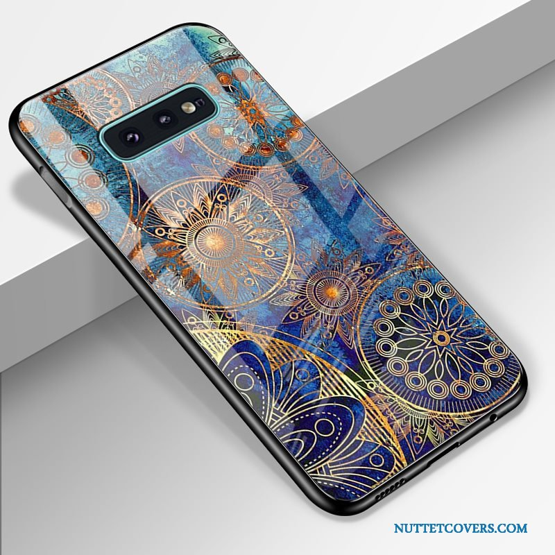 Etui Til Samsung Galaxy S10e Cartoon Stjerne Hærdet Glas High End Blå Telefon