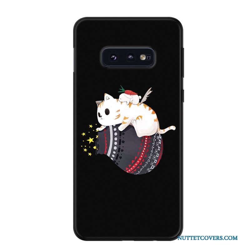 Etui Til Samsung Galaxy S10e Cartoon Telefon Anti-fald Silikone Af Personlighed Sort