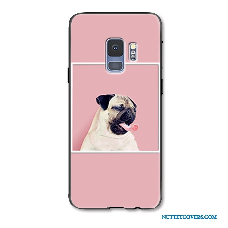 Etui Til Samsung Galaxy S9 Cover Lyserød Relief Kat Cow Malet