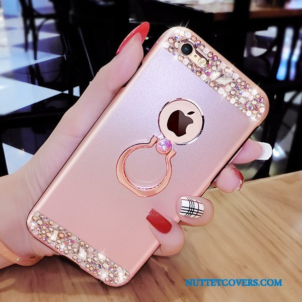 Etui Til iPhone 6/6s Telefon Anti-fald Ring Support Luksus Strass