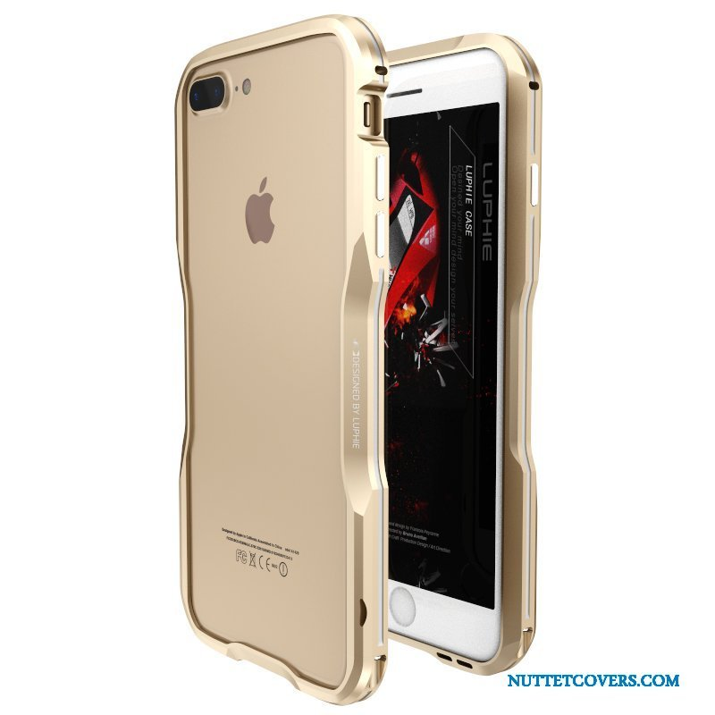 Etui Til iPhone 7 Plus Anti-fald Ramme Metal Cover Guld Ny